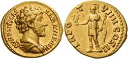 98  -  MARCUS AURELIUS CAESAR. Aureus. AV 7.28 g. AVRELIVS CAE – SAR AVG P II FIL Bare-headed, draped, and cuirassed bust r. Rev. TR PO – T – VIIII COS II Roma, helmeted, in military attire, standing l., holding Victory on extended r. hand and parazonium in l. About extremely fine.