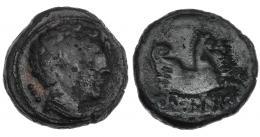30  -  ILTIRKESKEN. Cuadrante. A/ Cabeza masculina con collar a der., detrás 3 glóbulos. R/ Medio Pegaso a der., debajo ley. ibérica ILTiRKeSKeN. CNH-3. I-1451. ACIP-1387. Pátina oscura con erosiones. BC+. Muy rara.