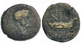 33  -  ILERCAVONIA-DERTOSA. As. Tiberio. A/ Cabeza laureada a der. R/ Nave a der. Contramarca espiga en rev. I-1492. RPC-207. BC-/BC.