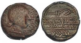 35  -  OBULCO. As. A/ Cabeza fememina a der.; delante  OBVLCO. R/ Espiga y arado; en medio entre líneas ILTiRATiN/KoLON. AE 21,09 g. CNH-10. I-1801. ACIP-2187. BC+/MBC+.
