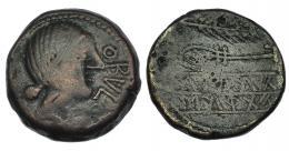36  -  OBULCO. As. A/ Cabeza femenina a der.; delante  OBVLCO. R/ Espiga y arado; debajo SiKaAI/OTaATiS. AE 15,47 g. CNH-342.9. I-1803. ACIP-2186. BC+.