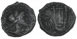 37  -  OBULCO. Semis. A/ Cabeza diademada a der. R/ Lira, a der. creciente y IIII. CNH-73A. I-1852 (vte. sin ley.). ACIP-2252. MBC-. Muy rara.