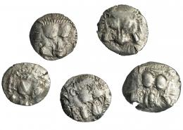 45  -  LICIA. Mitradata. Lote de 5 dióbolos (460-360 a.C.). A/ Cabeza frontal de león. R/ Trisqueles en cuadrado incuso. MBC-/MBC.