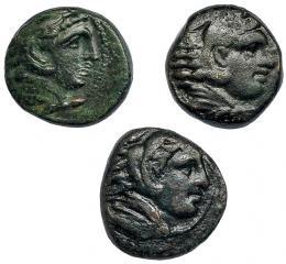 47  -  MACEDONIA. Lote de 3 AE  a nombre de Alejandro III. MBC. PRC-386.