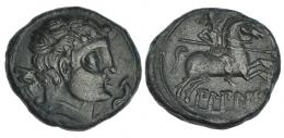 5  -  BILBILIS. As. A/ Cabeza masculina a der., delante delfín, detrás signo ibérico S. R/ Jinete con lanza a der.; debajo ley. ibérica BiLBiLIS. AE 14,4 g. CNH-2. I-254. ACIP-1569. Pátina verde. EBC-.