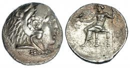 58  -  MACEDONIA. A nombre de Alejandro III. Tetradracma. Sidón (320-319). R/ Delante del trono Z, debajo SI. AR 16,91 g. PRC-No. Pequeñas erosiones. Leve vano en anv. EBC-/MBC+.