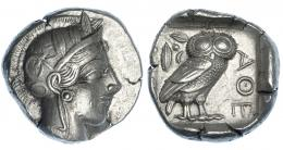 68  -  ÁTICA. Atenas. Tetradracma (454-405 a. C.). A/ Cabeza de Atenea a der. R/ Lechuza dentro de cuadrado incuso, detrás ramas de olivo y creciente, del. AQE. COP-34-37. SBG-2526. Cospel abierto. MBC+/EBC-.