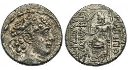 75  -  REINO SELÉUCIDA. Filipo I. Tetradracma (93-83 a.C.). R/ Zeus entronizado a izq. con Nike y cetro; bajo el trono monograma. AR 15,48 g. COP-425 vte. SBG-7196 vte. Plata agria. MBC/MBC+.