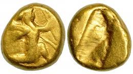 76  -  PERSIA. Reyes Aqueménidas (Jerjes II a Artajerjes II). Dárico (420-373). A/ Rey persa o héroe arrodillado a der. con lanza y arco. R/ Punzón incuso. AU 8,36 g. COP-274-277. SBG-4679. BC+. Muy escasa.