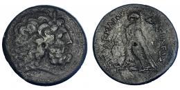 80  -  EGIPTO. Ptolomeo IV? (221-205 a.C.). AE-42. A/ Cabeza de Zeus-Amón a der. R/ Águila sobre haz de rayos a izq., delante cornucopia; entre las patas símbolo o letra poco visible; PTOLOMEOY BASILEOS. Ae 65,55 g. COP-219 ss. SBG-7841 vte. MBC-/BC+.