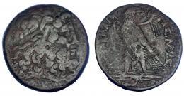 81  -  EGIPTO. Ptolomeo IV (221-205 a.C.). AE-38. A/ Cabeza de Zeus-Amón a der. R/ Águila sobre haz de rayos a izq., por detrás a der. cornucopia; entre las patas monograma EP; PTOLOMEOY BASILEOS.AE 45,4 g. COP-227 ss. SBG-7842 vte. BC+.