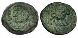 9  -  CASTULO. Semis. A/ Cabeza masculina a izq.; delante externa M BAL (F). R/ Toro parado, encima M.Q.F. AE-9,22 g. CNH-59. I-748. ACIP-2163. Pátina verde rugosa. MBC/MBC-.