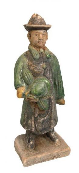 34  -  Antigua China. Terracota. Figura de hombre de cortejo. Dinastía Ming (1368-1644).