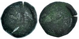 148  -  GADES. Dupondio. Augusto. A/ Cabeza de Agripa a der.; delante (AGR)IPPA. R/ Acrostolio; (MVNICIPI) PATR(ONVS PARENS). AE 18,90 g. RPC-84. APRH-84. ACIP-3314. CC-4110, mismo ejemplar. Oxidaciones. BC-. Rarísima.