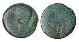 210  -  COLONIA PATRICIA. As. Augusto. A/ Cabeza a izq.; PERM CAES  AVG. R/ Corona cívica rodeando (COLONIA-PATRICIA). Contramarcas en anv. y rev. AE 11,15 g. RPC-S5 129/390. APRH-129. ACIP-3357. CC-4262, mismo ejemplar. Las contramarcas MBC y la moneda MC.