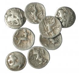 256  -  Lote 8 dracmas Alejandro III. BC+/MBC-.