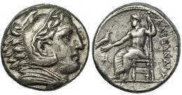 259  -  MACEDONIA. ALEJANDRO III. Tetradracma. Anfípolis (c. 325-323 a.C.). R/ Delante del trono Atenea. AR 16,81 g. PRC-105. Pequeñas erosiones. MBC/MBC-.