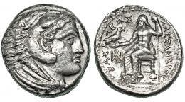 260  -  MACEDONIA. ALEJANDRO III. Tetradracma. Anfípolis (c. 325-320 a.C.). R/ Delante del trono monograma. AR 16,39 g. PRC-120. Leves concreciones. MBC/MBC+.