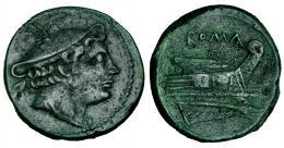 273  -  Semiuncia. Roma. A/ Cabeza de Mercurio con pétaso alado a der. R/ ROMA sobre proa a der. AE 6,00 g. CRAW-38.7. Bonita pátina verde. MBC.