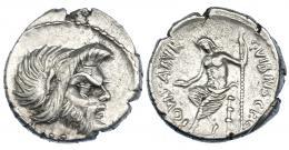 286  -  VIBIA. Denario. Roma (48 a.C.). R/ Ley. curva. CRAW-449.1a. FFC-1220. Cospel abierto. MBC+.