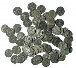 302  -  Lote 78 AE-3. Constancio (3), Constantino I (12), Constantino II (3), Valentiniano (26), Valente (34), Graciano (1), Constante (1). Calidad media EBC-/EBC.
