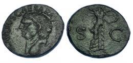 315  -  CLAUDIO I. As. Imitación provincial. R/ Minerva a der. blandiendo jabalina y escudo; S-C. RIC-100. Pátina verde oscuro. MBC.