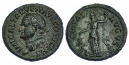 329  -  VESPASIANO. As. Roma (74 d.C.). R/ Aequitas; AEQVITAS AVGVST, S-C. RIC-557b. Pequeñas marcas. Pátina verde oscuro. MBC.