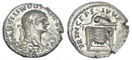 332  -  DOMICIANO. Denario. Roma (c. 80 d.C., bajo Tito). R/ Casco sobre trono; PRINCEPS IVVENTVTIS. RIC-51. Cospel abierto. EBC-/EBC.