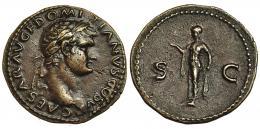 333  -  DOMICIANO (bajo Vespasiano). As. Roma (77-78). A/ Cabeza laureada a der.; CAESAR AV. F. DOMITIANVS COS V. R/ Spes a izquierda con flor; S-C. RIC-724. Porosidades. EBC-.