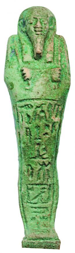 2016  -  EGIPTO. Baja Época. Ushabti epigrafíado. Dinatía XXVI (664-332 a.C.). Fayenza vitrificada. Altura 18,0 cm. Incluye peana.