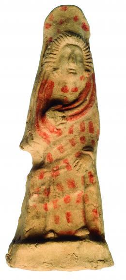 2026  -  HISPANIA ANTIGUA. ¿Posible Iberorromano?. Figura femenina (II a.C. - I d.C.). Terracota policromada. Altura 21,7 cm.