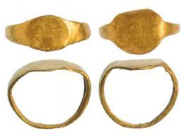 2035  -  ROMA. Imperio Romano. Lote de dos anillos (I-II d.C.). Oro. Lisos. Diámetro 11 mm.