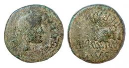 8  -  EMERITA. As. Augusto. A/ Cabeza femenina a der.; AVG EMERI. R/ Yunta fundacional a der.; PERM (CAE) AVG. AE 13,78 g. RPC-5. APRH-5a. ACIP3364. CC-3845, mismo ejemplar. Pátina verde oscuro. BC-/BC+. Rara.
