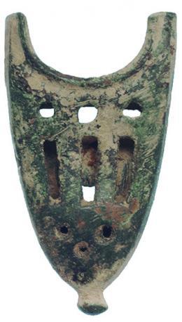 2086  -  PERÍODO MEDIEVAL CRISTIANO. Contera de vaina (XIII-XV d.C.). Bronce. Altura 5,3 cm.