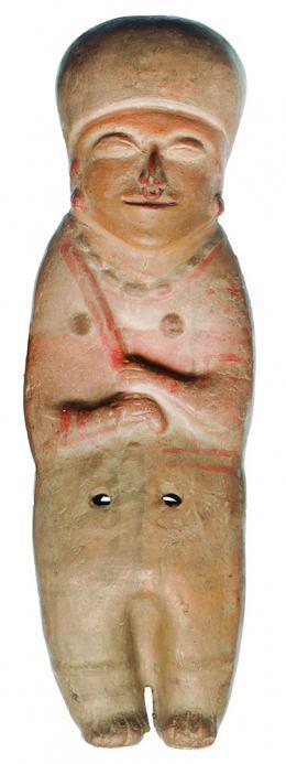 2095  -  PREHISPÁNICO. Figura antropomorfa. Cultura Moché (500 a.C.-500 d.C.). Cerámica. Altura 37,8 cm. Se adjunta prueba de termoluminiscencia.