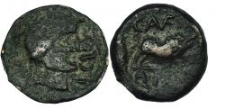 3001  -  CASTULO. Cuadrante. A/ Cabeza masculina laureada y con ínfulas a der.; AP CLO. R/ Jabalí a der., encima C. AVF, bajo línea A.P(OS). AE 2,52 g. CNH-58. I-744. ACIP-2162. BC/BC+. Rara.