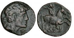 3007  -  KESE. As. A/ Cabeza masculina a der. con manto, detrás signos ibéricos IL, delante S. R/ Jinete con palma a der., debajo sobre línea KeS-E. AE 7,9 g. CNH-95. I-2295. ACIP-1210. MBC-.