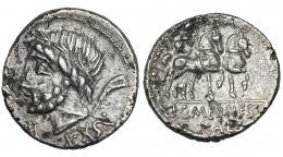 3018  -  MEMMIA. Denario forrado. Roma (87 a.C.). A/ Marca de emisión A. CRAW-349.1. FFC-911. Pequeñas erosiones. MBC+.