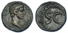 3023  -  AUGUSTO. As. Roma. A/ Cabeza a der. R/ SC rodeado por M SA(LVIVS OTHO) IIII VIR.A.A.FF. RIC-431. MBC-.