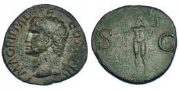 3028  -  AGRIPA (bajo Calígula). As. Roma. R/ Neptuno a izq.; S-C. RIC-58. Pátina verde. MBC-/BC+.