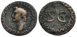 3029  -  GERMÁNICO (bajo Calígula). As. Roma (37-38). A/ Cabeza de Germánico a izq. R/ SC rodeado por C CAESAR AVG GERMANICVS PON M TR POT. RIC-35. Pequeñas erosiones en rev. BC+.