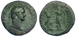 3035  -  DOMICIANO. Dupondio. Roma (85 d.C.). R/ Victoria inscribiendo en escudo sobre palmera; VICTORIA AVGVSTI, S-C. RIC-298. Pátina verde. BC+.