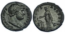 3040  -  ADRIANO. As. Roma (125-127). R/ Salus a izq. alimentando serpiente sobre altar; SALVS AVGVSTI, S-C, exergo COS III. RIC-828. Pátina verde. MBC-.