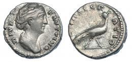 3043  -  FAUSTINA LA MAYOR. Denario. Roma (post. 141). R/ Pavo real a der.; CONSECRATIO. RIC-184. Hoja en rev. MBC-.