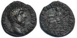 3053  -  LUCIO VERO. As. Roma (163). R/ Fortuna sentada a izq.; FORT RED TR POT III COS II, S-C. RIC-1345. Pátina oscura con erosiones. MBC/MBC-.