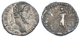 3054  -  CÓMODO. Denario. Roma (188-189). R/ Fortuna a izq. con pie sobre proa con caduceo y doble cornucopia. RIC-172. MBC-/BC+.
