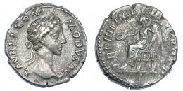 3056  -  CÓMODO. Denario. Roma (179). R/  Victoria sentada a izq. con pátera y palma; TR P IIII IMP III COS II P P. RIC-666. MBC-.
