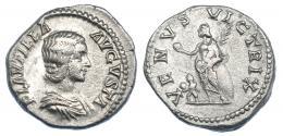 3063  -  PLAUTILA. Denario. Roma (202-205). R/ Venus a izq. con manzana y palma, delante Cupido; VENVS VICTRIX. RIC-369. MBC-/MBC.