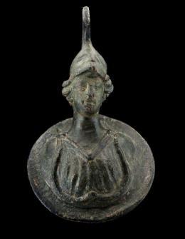 16  -  Busto Minerva en bronce, con casco y égida. Imperio Romano. Siglos I-II d.C.