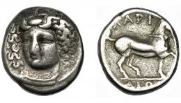 100  -  TESALIA. Larisa. Didracma (c. 395-344 a.C.). A/ Cabeza frontal de Larissa. R/ Caballo a der.; LARI-(S)AIWN. COP-119 ss. SBG-2119.  BC+/MBC-.
